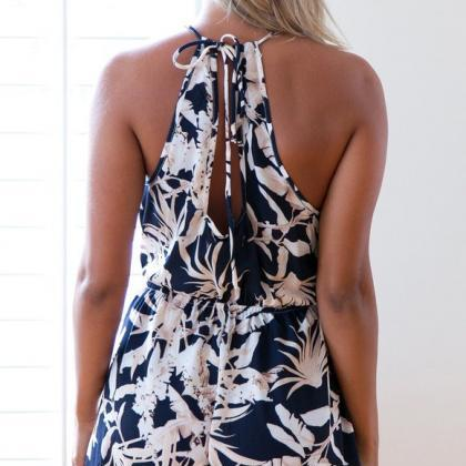 Sexy Strapless Printing Rompers Jum..