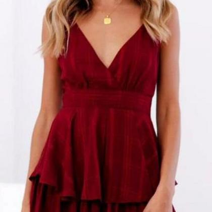 Sexy Backless V-neck Sling Rompers ..