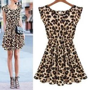 Leopard short-sleeved vest dress AX..