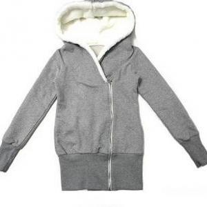 Fashion zipper hooded sweater coat ..