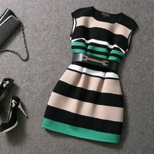 Slim stripe print dress AX101401ax