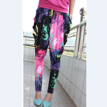 Graffiti fluorescent harem pants AX..