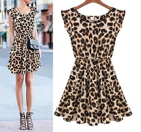 Leopard short-sleeved vest dress AX080101AX