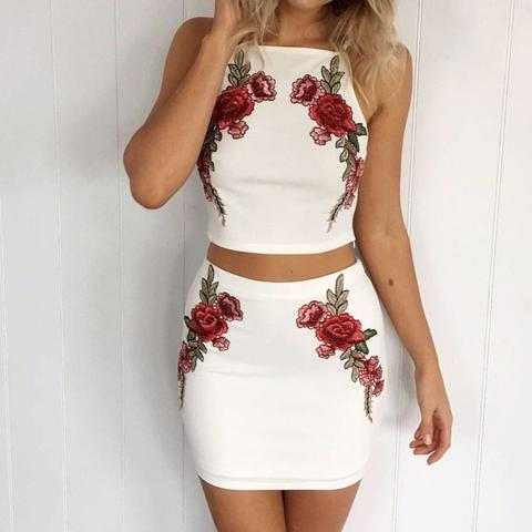 Fashionable White Embroidery Two-Piece Dress