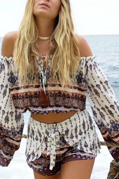 Fashion Long Sleeve Printing Two-Piece Set