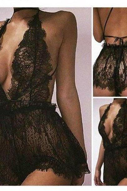 Sexy Women Black Lace Lingerie