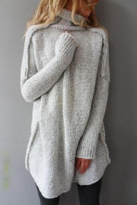 Fashion Solid Color High Collar Loose Knitted Sweater