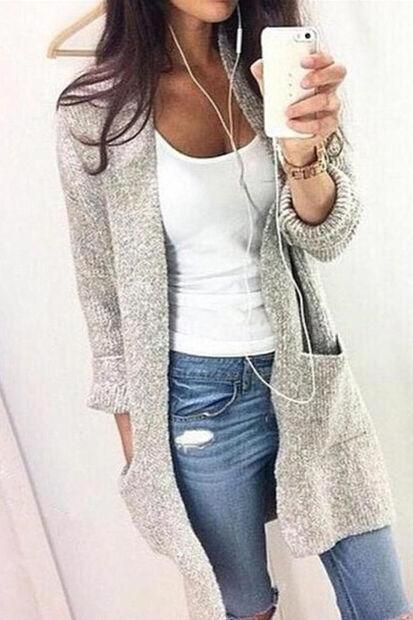 Fashion Loose Solid Long Sleeve Cardigan Coat