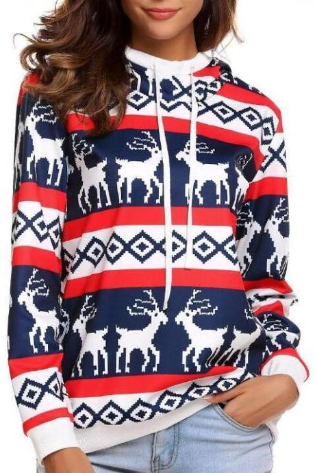 Elk Print Christmas Hoodie Sweater, Ugly Christmas Sweater