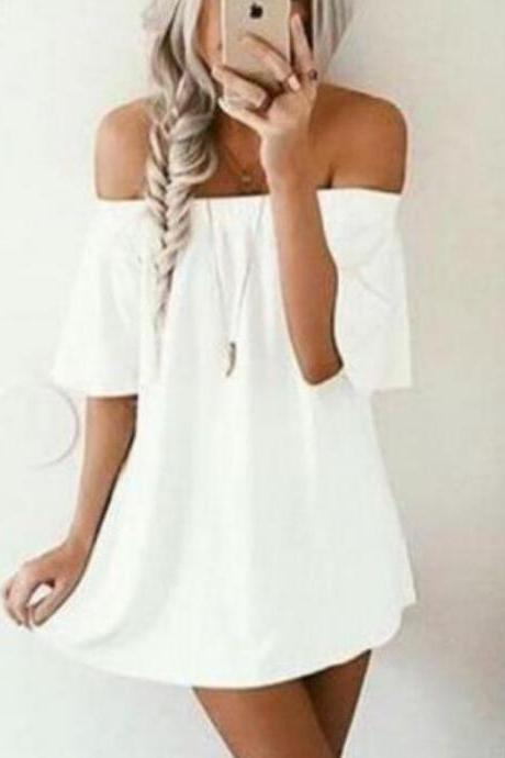 White Off The Shoulder Shift Dress