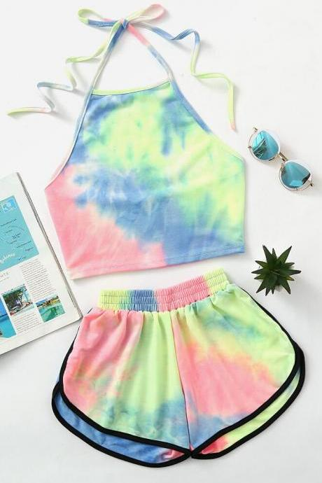 Sexy Vest Exposed Navel Shorts Two-piece Suit