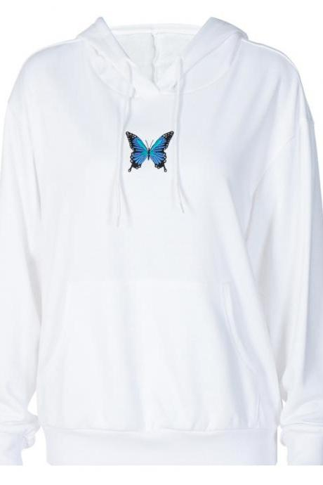 Hooded Embroidery Butterfly Sweater