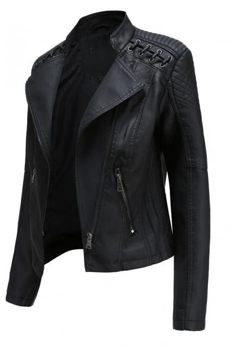 Women's Faux Leather Jacket Coat