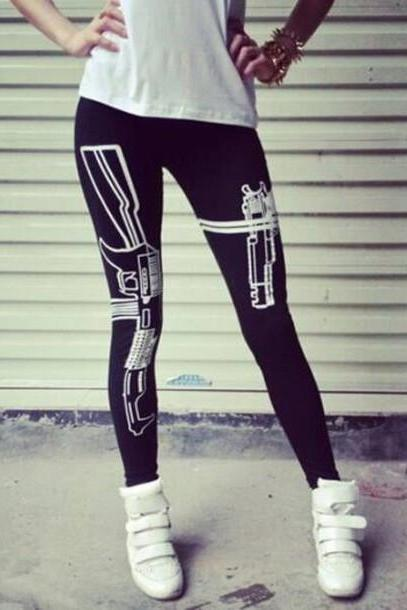 FASHION PRINTED GUN TROUSERS