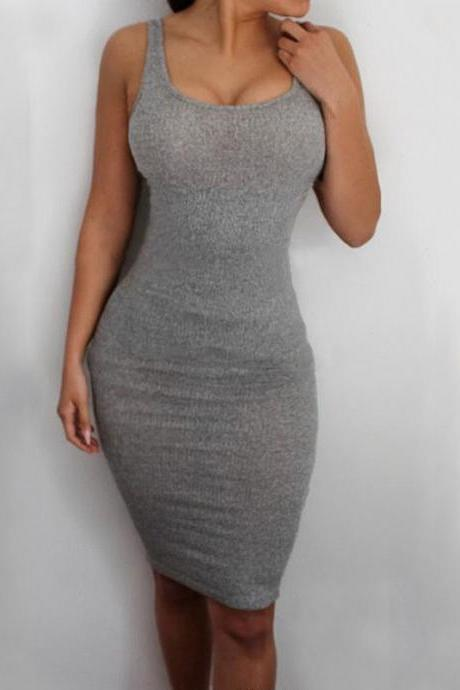 SLIM ROUND NECK SLEEVELESS VEST DRESS