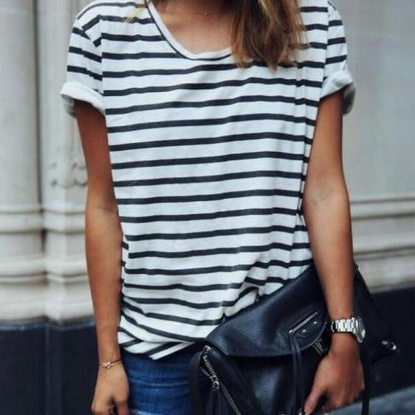 Fashion loose striped T-shirt