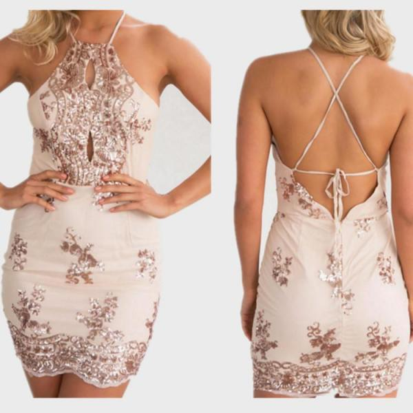Sexy Backless Bandage Sequined Dress