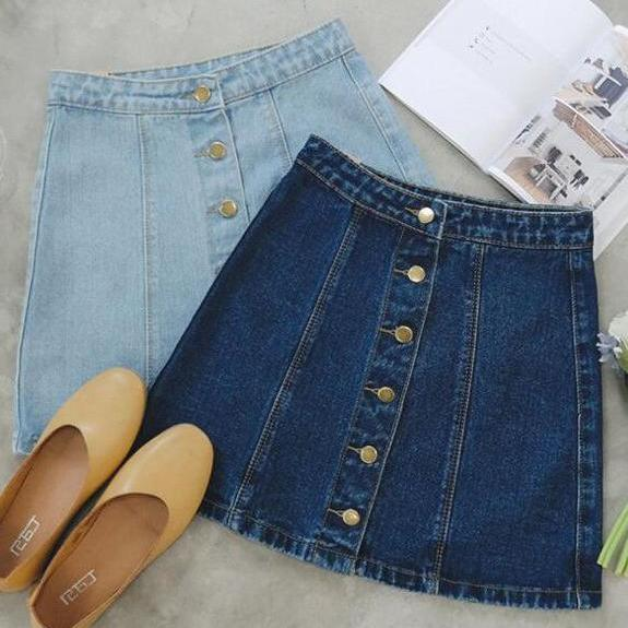 Denim Button Down Short Skirt