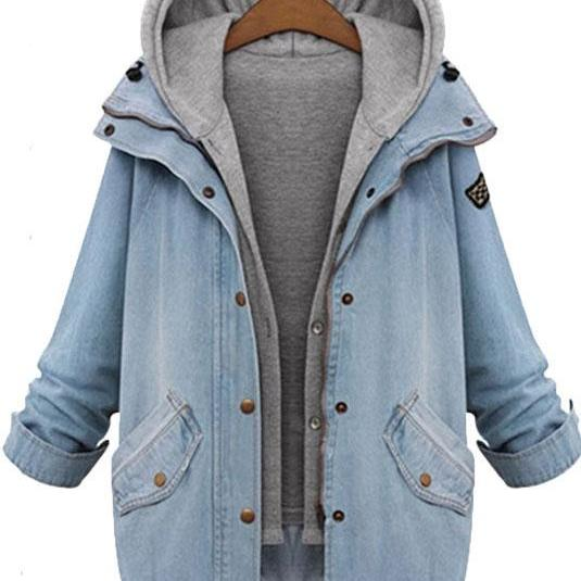 Hooded Loose Jacket Casual Denim Outerwear