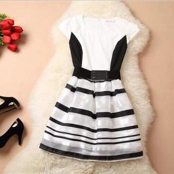 Stripe splicing chiffon dress AX073104AX