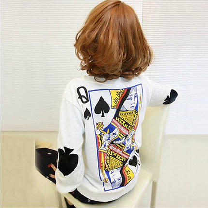 Q Spades Poker Big Yards Loose Long-Sleeved Sweater