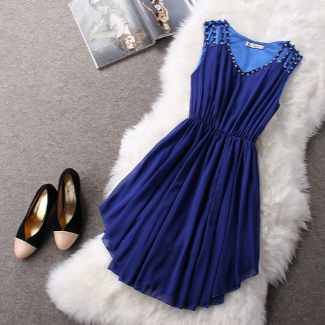 Fashion Round Neck Chiffon Princess Dress