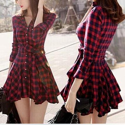 Slim plaid long-sleeved dress AX12515ax