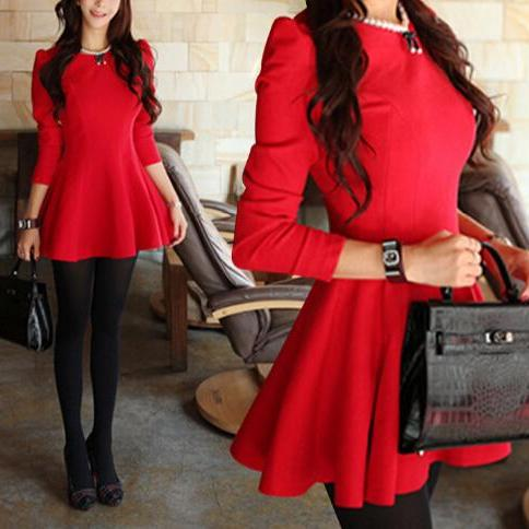 Slim round neck long-sleeved dress AX12517ax