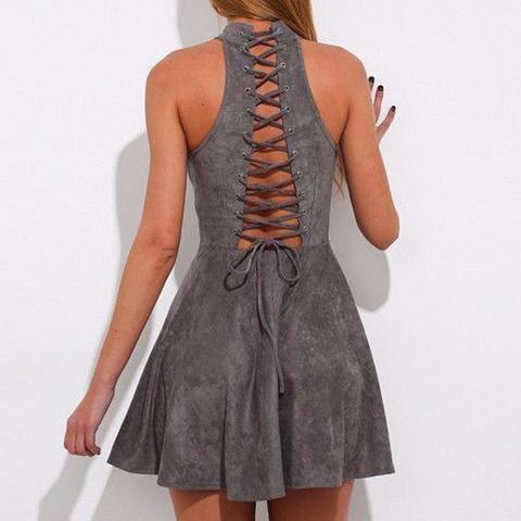 Grey Faux Suede Halter Neck Short Skater Dress Featuring Lace-Up Back